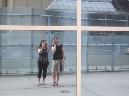 With Jane (and the security fences...)