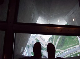 Standing on the glass floor of the CN tower!